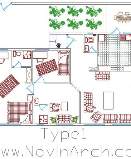 پلان تیپ 01 مجتمع مسکونی