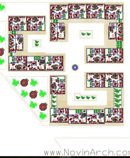 پلان طبقه اول مجتمع مسکونی
