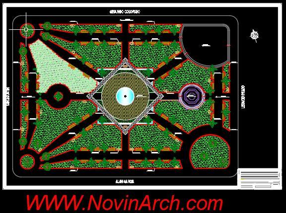 سایت پلان پروژه معماری طراحی پارک (بوستان)