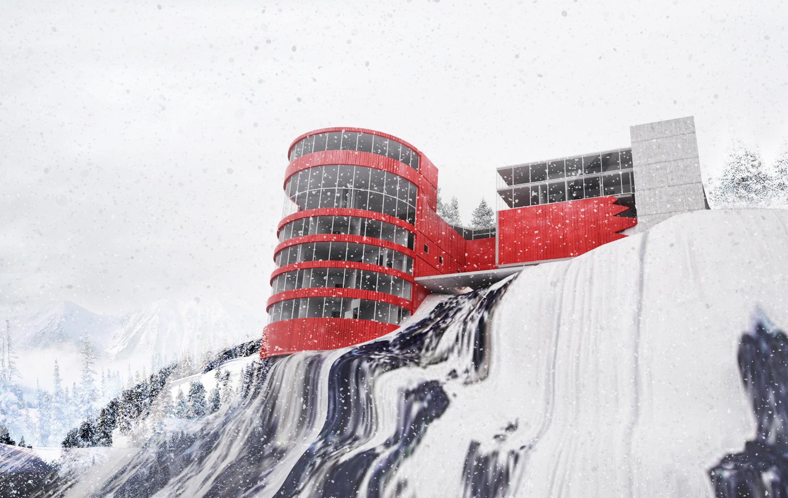 معماری طراحی استادیوم ورزشی زمستانی
