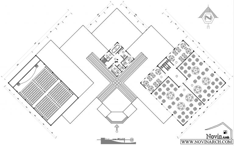 پلان طبقه اول پروژه معماری طراحی کتابخانه عمومی در ارومیه