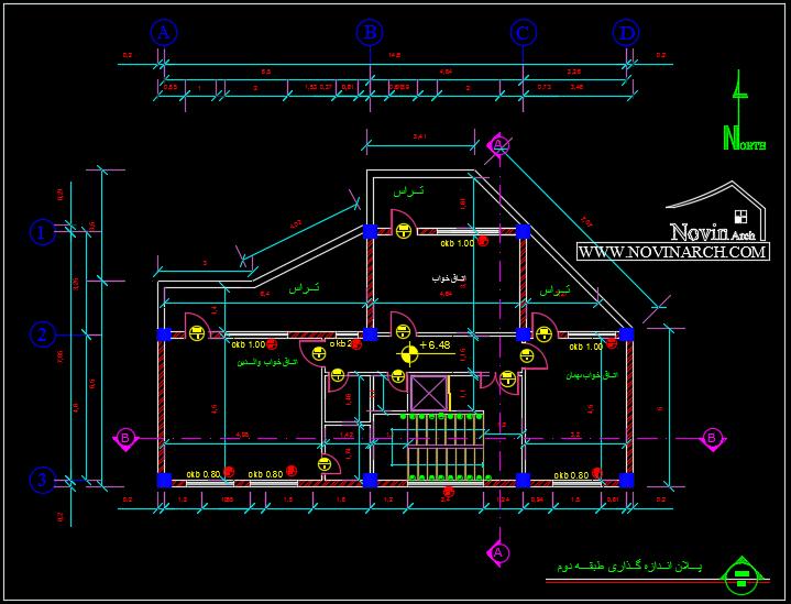 پلان اندازه گذاری طبقه دوم