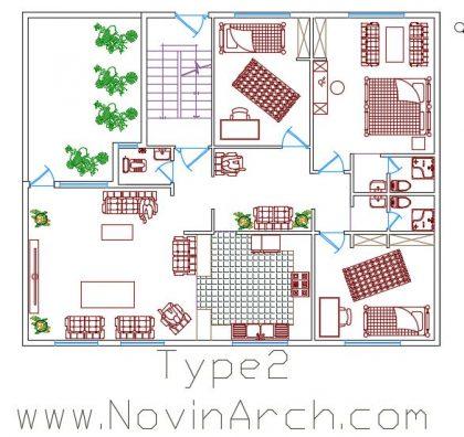 پلان تیپ 02 مجتمع مسکونی