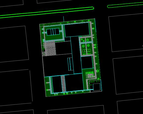 سایت پلان پروژه معماری طراحی مدرسه ابتدایی
