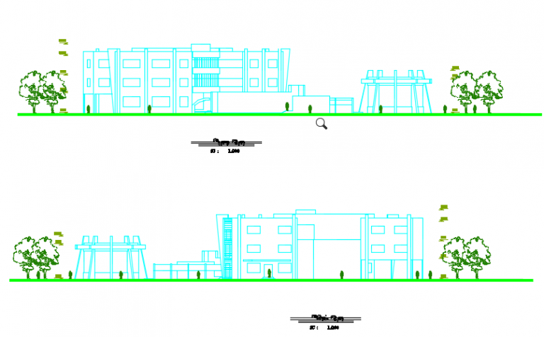 نماهای پروژه معماری طراحی کتابخانه عمومی