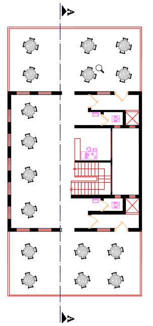 پلان طبقه اول پروژه معماری طراحی رستوران و کافی شاپ