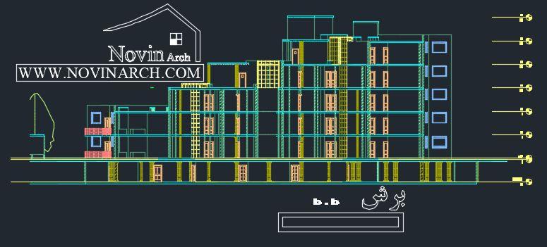 برش B.B مجتمع مسکونی
