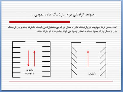 ضوابط ترافیکی طراحی پارکینگ
