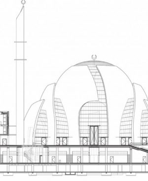 برش B-B مسجد مرکزی کلن - آلمان